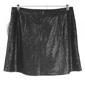 Decree Skirts - NWT Decree Black Full Sequin Flare Mini Skirt